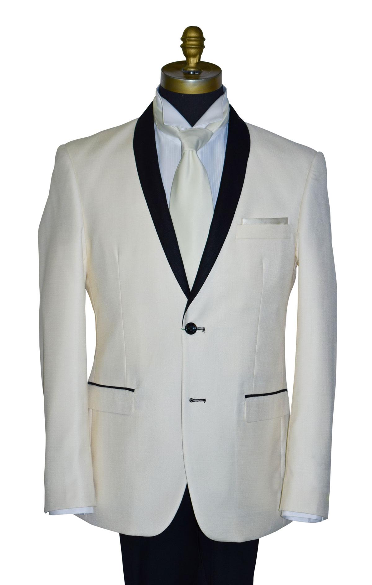 Ivory Coat With Black Shawl Collar