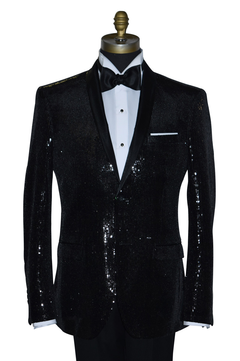 Black Sequins Tuxedo Coat Only
