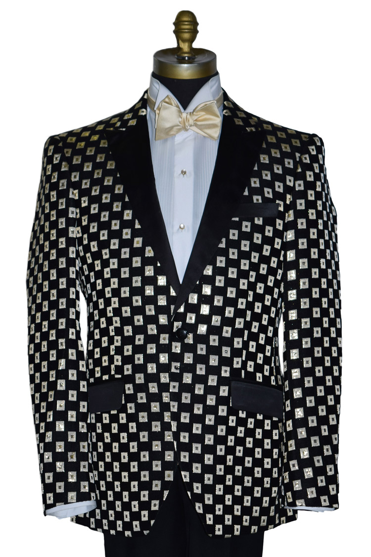 BLACK WITH IVORY AND GOLD SQUARE TUXEDO COAT ONLY