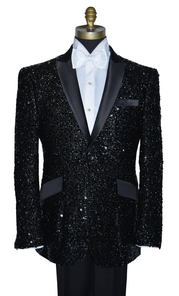 COAT ONLY- BLACK SEQUINS TUXEDO