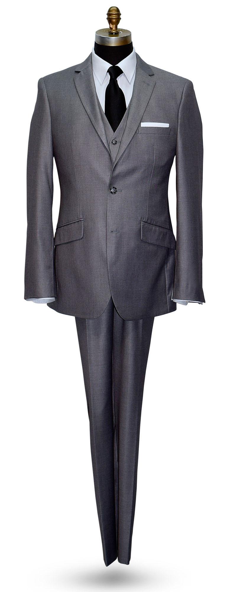 Spanish Medium Gray Mens 2 Piece Slim Fit Suit-Vest Optional