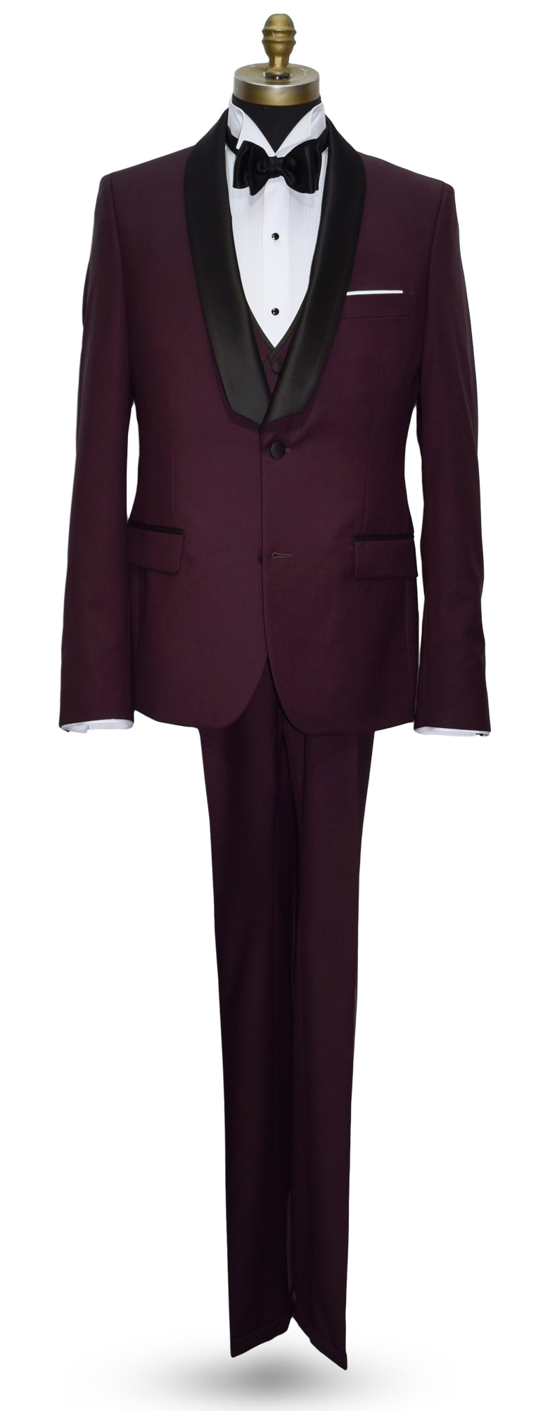 Burgundy Shawl Collar Tuxedo Ultra Slim Fit 3 Piece with Vest