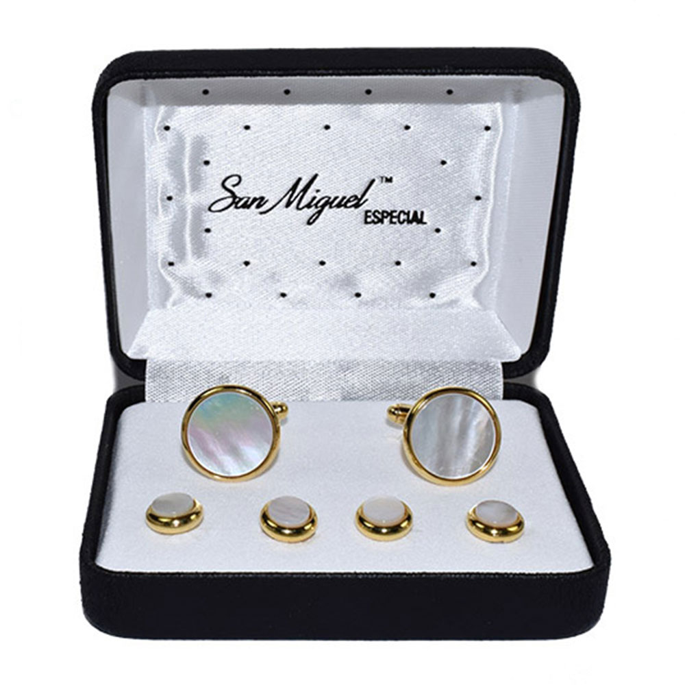 MOTHER OF PEARL CUFFLINKS AND STUDS IN GOLD FINISH SETTING