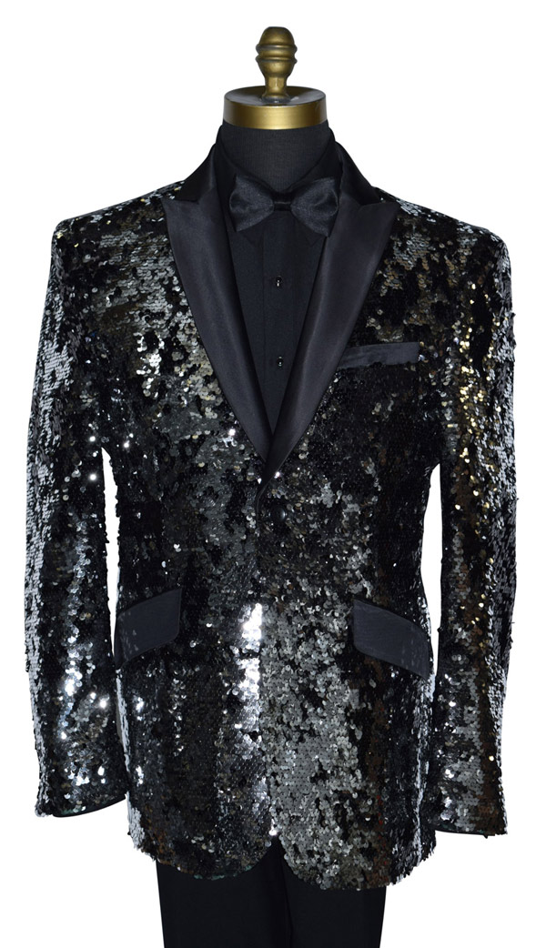 COAT ONLY- BLACK AND SILVER SEQUINS TUXEDO