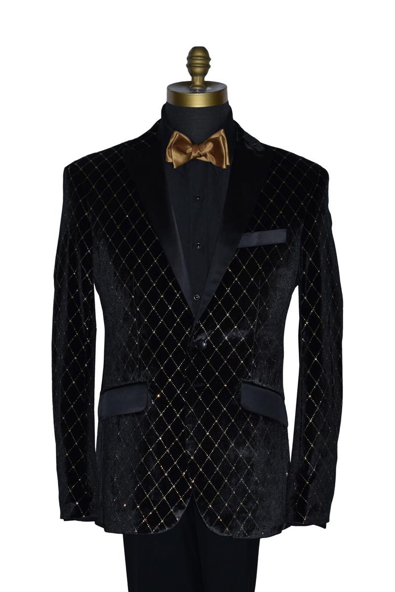Black with Gold Diamond Velvet Coat Only
