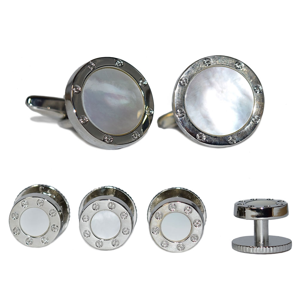 Mother-of-Pearl Cufflinks and Stud Set