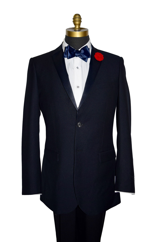 Midnight Blue Swiss Pique Tuxedo Coat Only