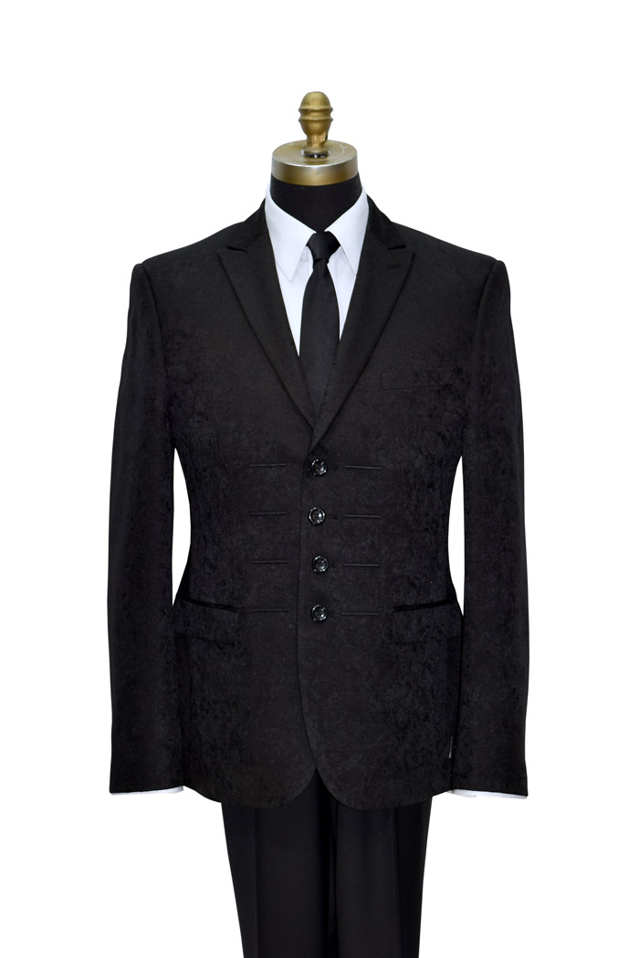 Black Brocade 4 Button Tuxedo Jacket Only