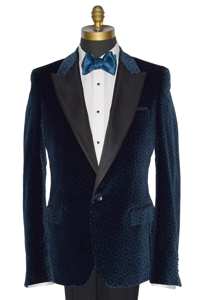 Blue Hexagon Velvet Coat Only
