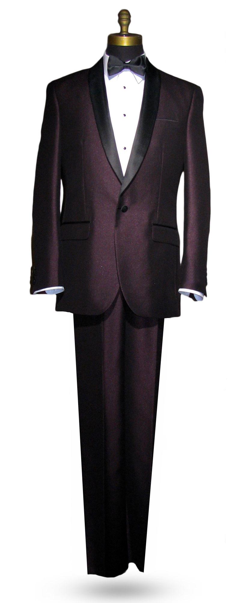 Plum Shawl Collar Tuxedo - 3 Piece - Shiny Fabric