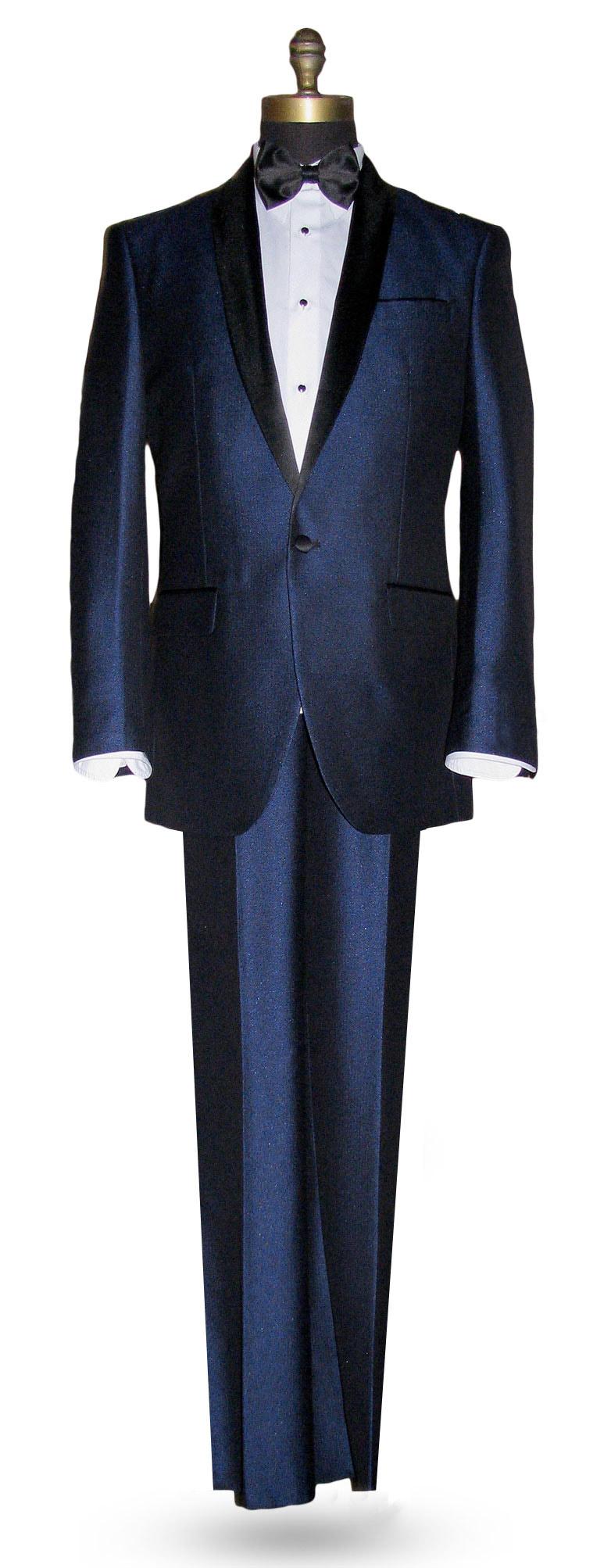 Ink Blue Shawl Collar Tuxedo - Coat, and Vest