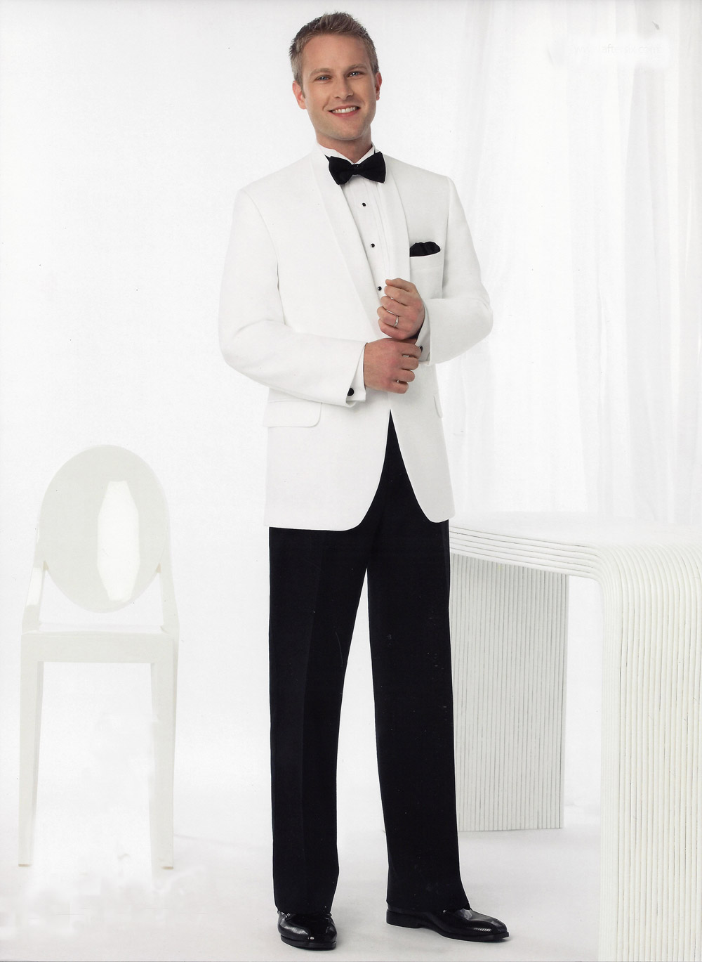White Dinner Jacket Shawl Collar - Jacket Only