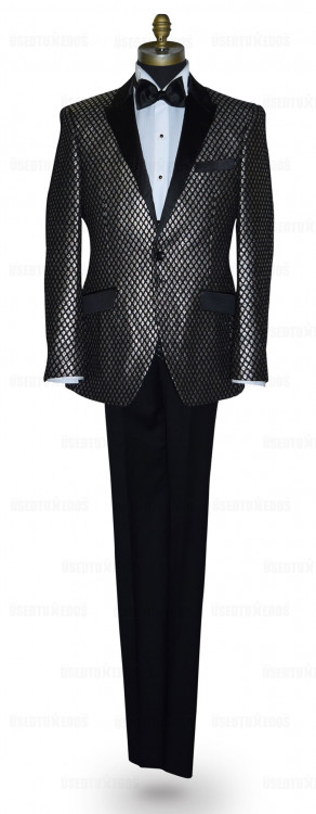 Black Tuxedo with Ginger Colored Texture Brocade Ensemble
