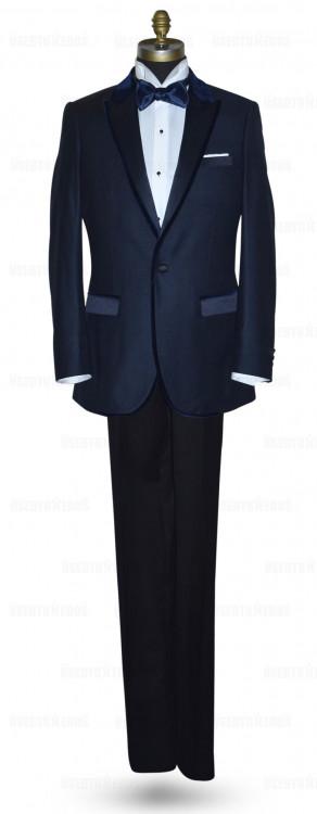 Navy Blue Tuxedo with Velvet Trim Ensemble