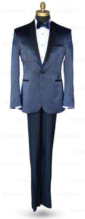 Black-Blue Glaze Shawl Collar Tuxedo Ensemble