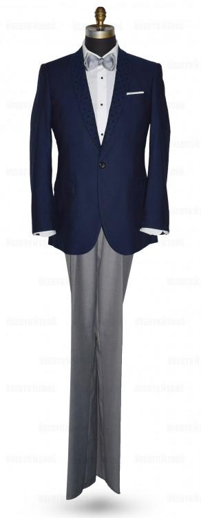 Navy Blue Shawl Collar Dinner Jacket