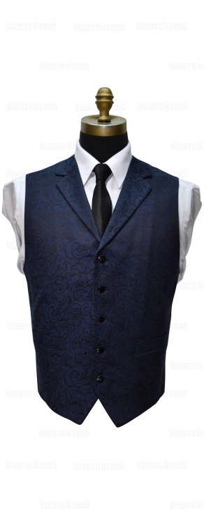 men's blue paisley vest with notch lapel by Dante Inferno