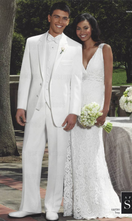 White Notch Lapel Tuxedo Jacket-2 Button