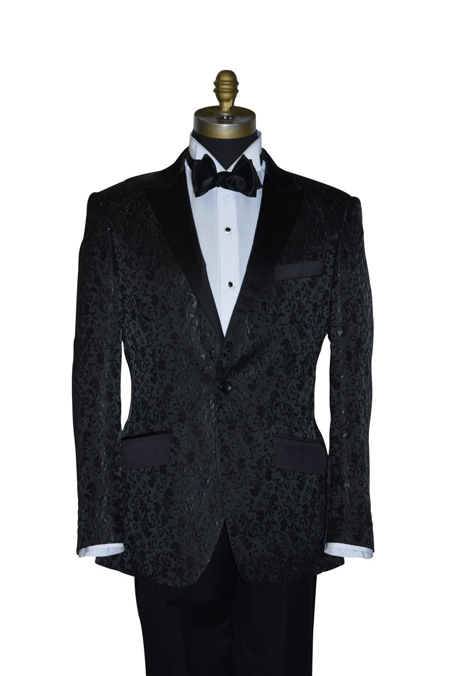 Black Brocade Tuxedo Ensemble