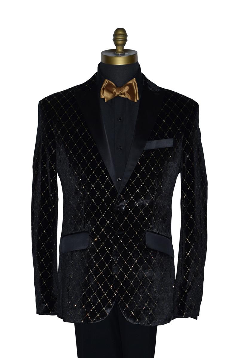 Black with Gold Diamond Velvet Tuxedo Ensemble