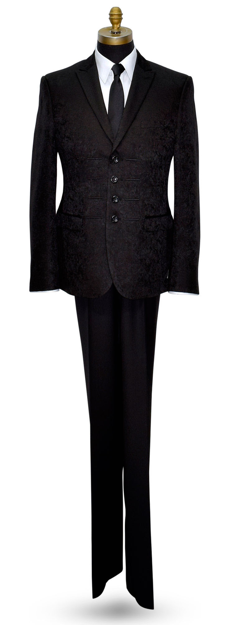 BLACK BROCADE TUXEDO 4 BUTTON PEAK LAPEL ENSEMBLE