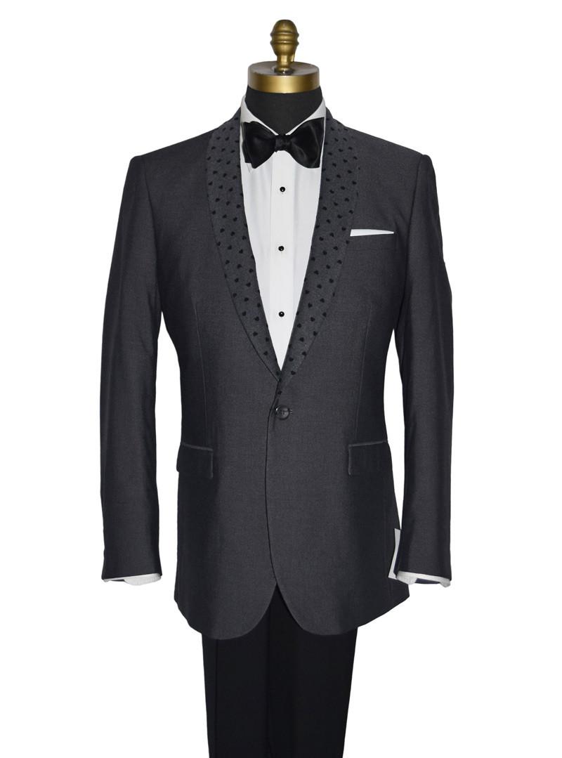 Charcoal Gray Shawl Collar Dinner Jacket