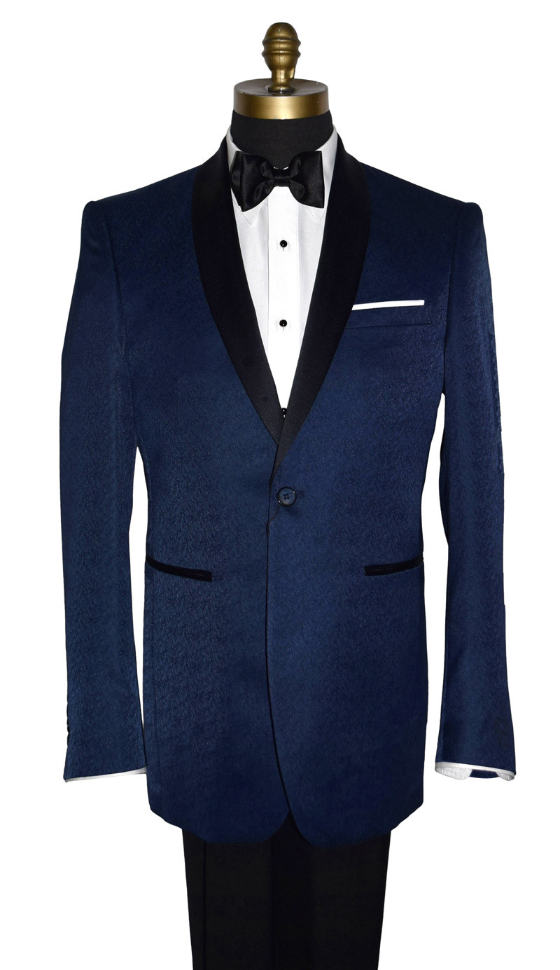 Blue Tuxedo with Black Shawl Collar