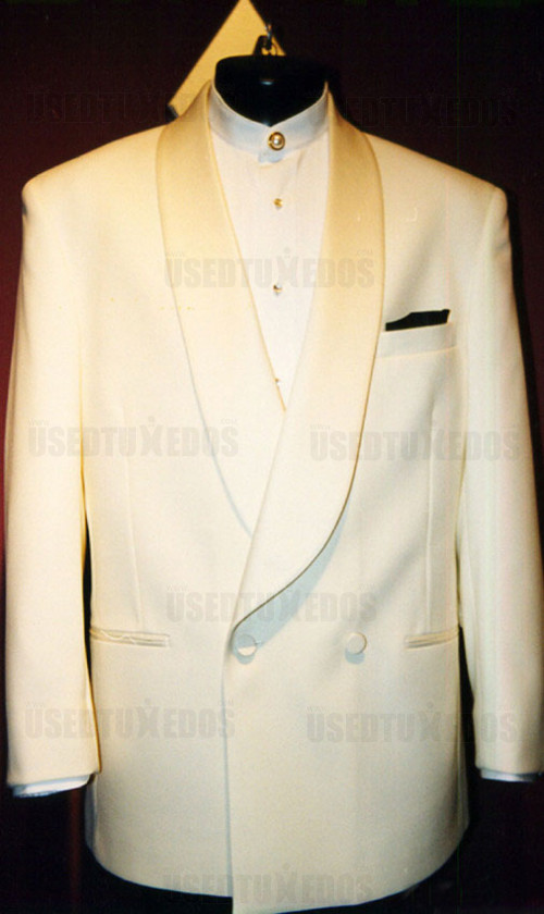 Ivory Double Breasted Shawl Collar Tuxedo