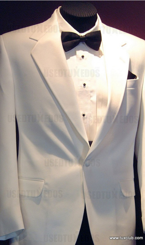 White 1 Button Notch Lapel Tuxedo
