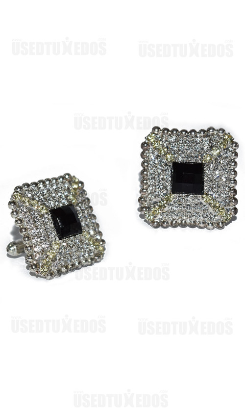 BLING CUFFLINKS CZ's and Black