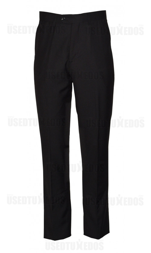 BLACK SLIM TUXEDO PANTS-SYNTHETIC FIBERS