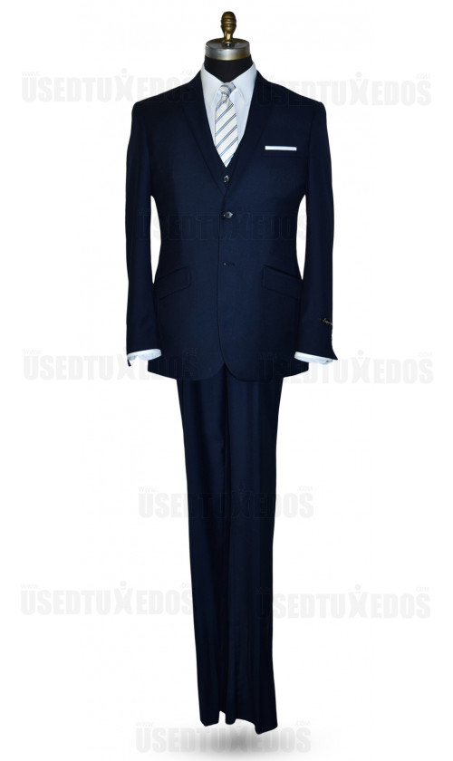 Men's Navy Blue Slim Fit Suit with Vest