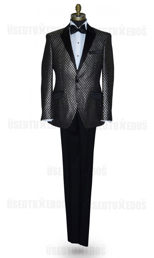 Black Tuxedo with Ginger Colored Texture Brocade Ensemble