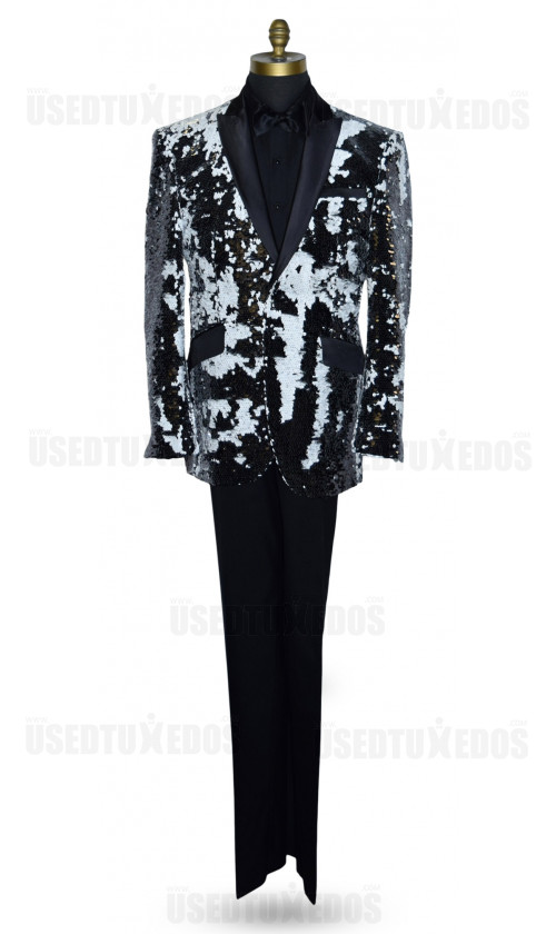 Black and White Deluxe Sequins Tuxedo Ensemble