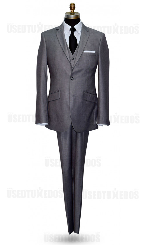 MEDIUM SPANISH GRAY MEN'S SLIM FIT SUIT - VEST OPTIONAL
