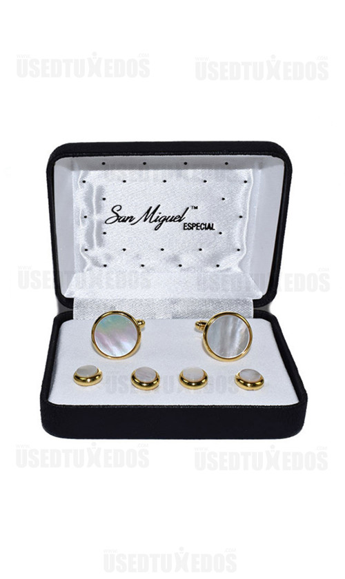 MOTHER OF PEARL CUFFLINKS AND STUDS - GOLD FINISH