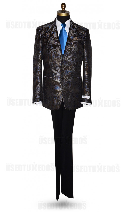 DARK CHOCOLATE SUIT COAT WITH BLUE AND GOLD PAISLEY