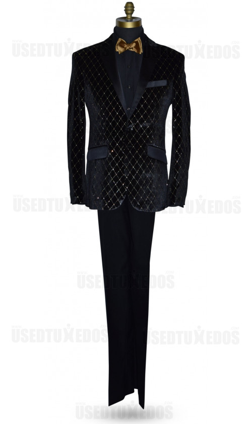 Black with Gold Diamond Velvet Tuxedo Ensemble