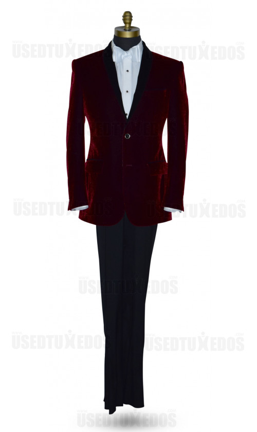 BURGUNDY VELVET DINNER JACKET ENSEMBLE