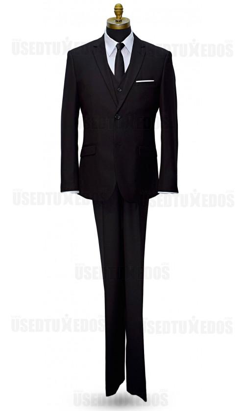 Black Slim Fit Suit - 3 Piece Ensemble. Coat, Pants and Vest