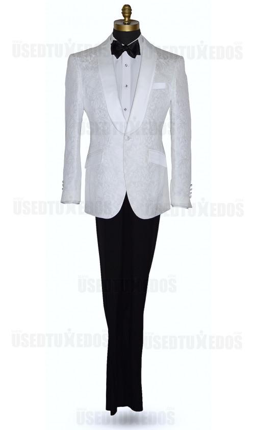 White Brocade Tuxedo Ensemble