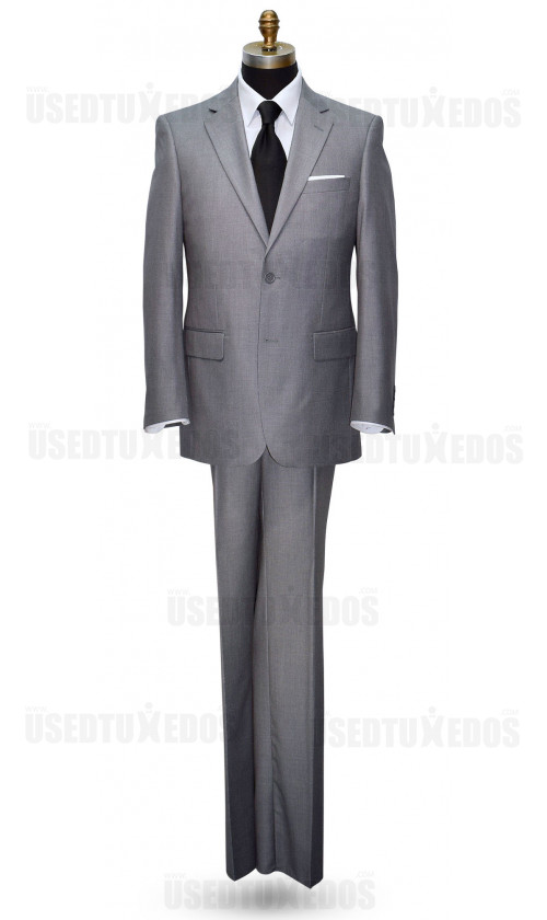 HEATHER MEDIUM GRAY MENS 2 PIECE SUIT ENSEMBLE