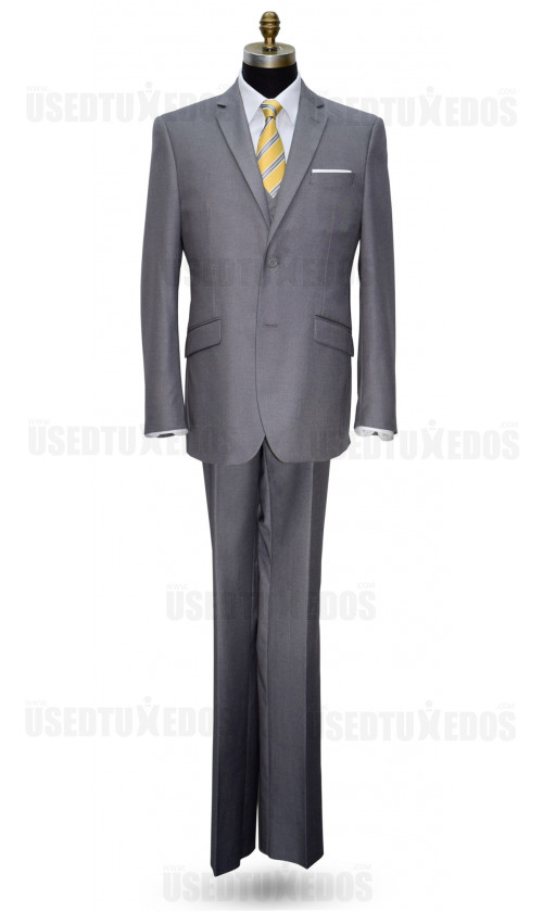 NAPA GRAY MENS SLIM FIT 3 PIECE SUIT VEST ENSEMBLE