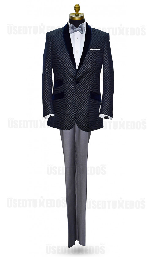 Blue Velvet with Silver Geometric Design Shawl Collar Dinner Jacket/Tuxedo- Ensemble