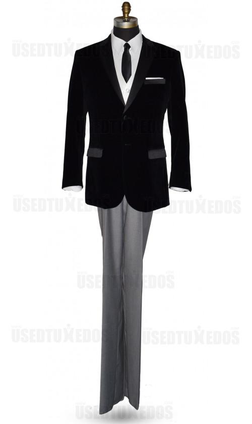 Black Velvet Dinner Jacket/Tuxedo - Ensemble