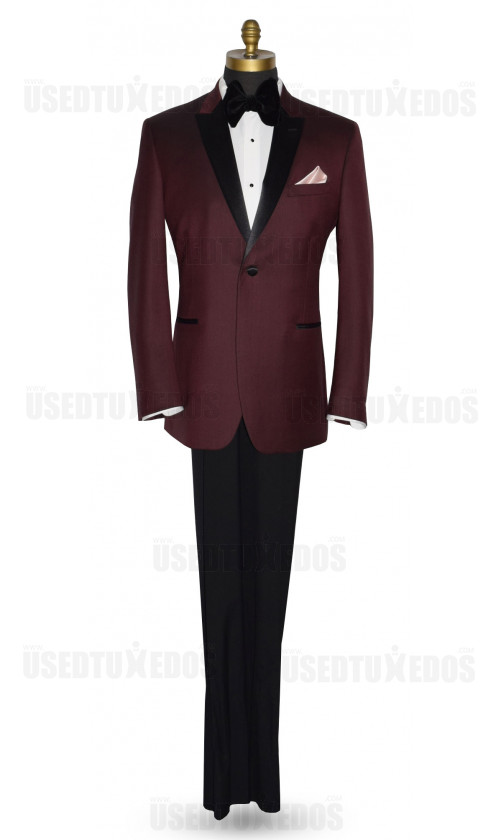Men's Burgundy Tuxedo Jacket With Black Peak Lapel
