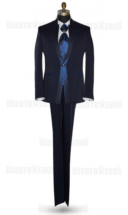 Midnight-Blue Nehru Tuxedo Ensemble with Blue Accents