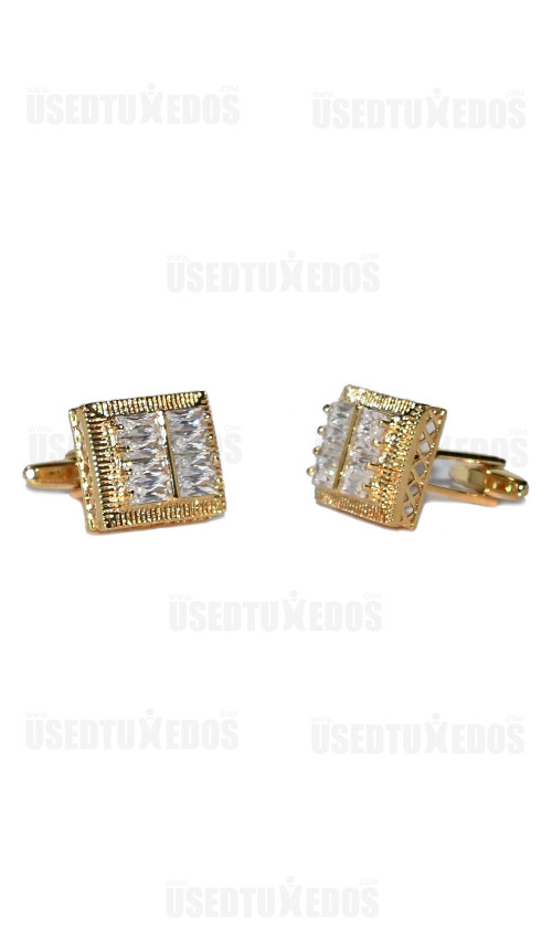 CUFFLINKS CRYSTALS WITH GOLD FINISH