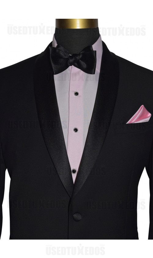 pink tuxedo shirt with bowtie