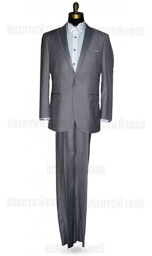 LIGHT GRAY MODERN FIT PEAK LAPEL TUXEDO ENSEMBLE